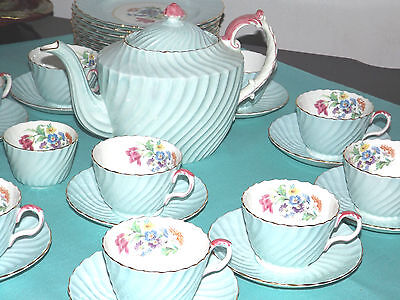 Swirled Shaped Pale Turquoise with Bouquet Aynsley Tea set 33 pieces