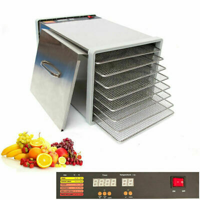 8 Tray Stainless Steel Food Dehydrator Jerky Fruit Vegetable Dryer Blower