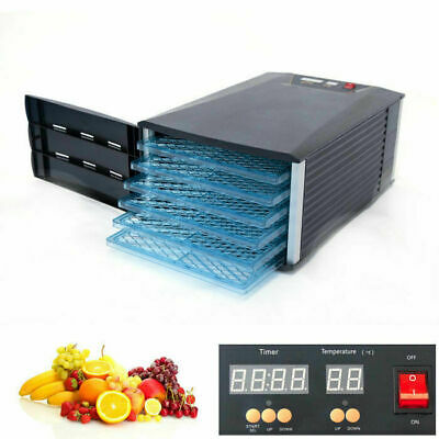6 Tray Food Dehydrator Jerky Fruit Vegetable Dryer Blower with Door and Timer
