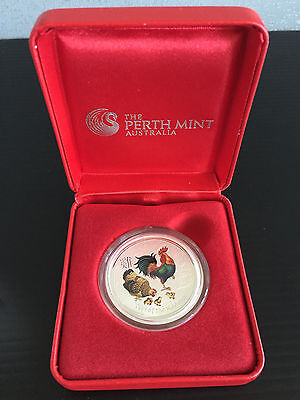 New Mint 1/2 oz Silver Bullion 2017 Australian Lunar Rooster Coloured 50c Coin