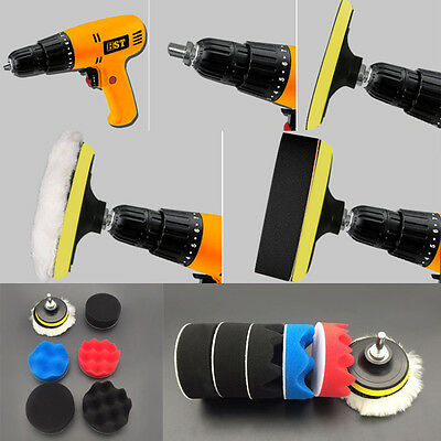"7pcs 3"" High Gross Polishing Buffer Pad Set + Drill Adapter  - For Car polisher"