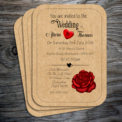 Personalised Postcard Style Wedding Invitations with envelopes - FREE P+P