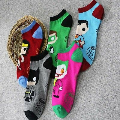Unisex Batman&Superman Novelty Cartoon Ankle Socks Low Cut Cotton Blend Socks