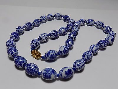 """Vintage Chinese Blue & White Porcelain Bead Necklace 29"""" Long"""