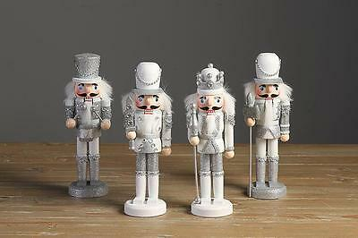 Bling Sliver Christmas Wooden Nutcracker Soldier Walnut Xmas Decoration Ornament