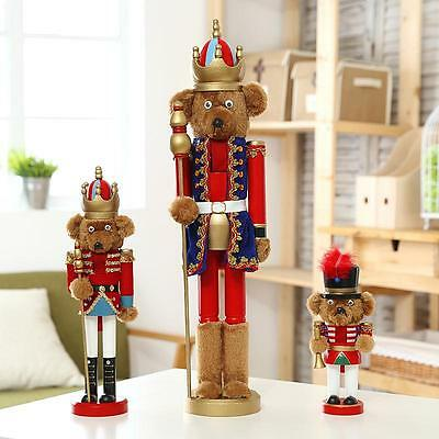 Teddy Doll Christmas Nutcracker Soldiers Wooden Walnut Soldiers Home Ornaments