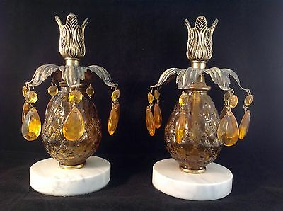 VINTAGE Glass & Brass PINEAPPLE CANDLE HOLDERS Hollywood Regency MARBLE BASE