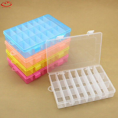 Plastic 10/24 Slots Adjustable Jewelry Storage Box Case Craft Organizer Beads