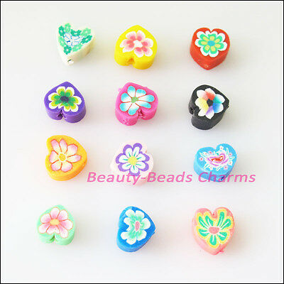 35 New Charms Handmade Polymer Fimo Clay Heart Flat Spacer Beads Mixed 8mm