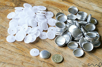 36L Button Blanks Cover Non Astro Sets White Metal Plastic 23mm Upholstery Sew
