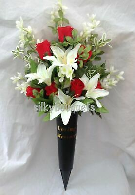 Artificial Silk Flower Grave Vase Crem Spike Memorial Tribute PAIR Red Rose Lily