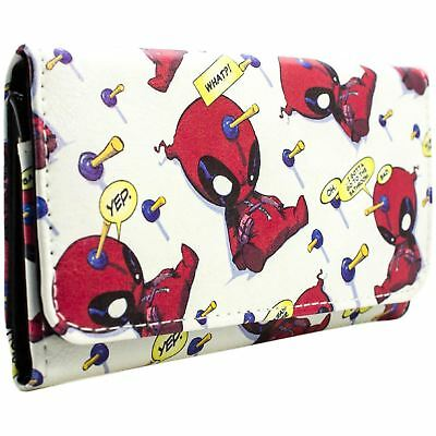 New Official Marvel Deadpool Chibi Quote Bubbles White Id & Card Tri-Fold Purse