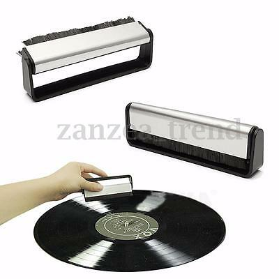 UK Antistatic Carbon Vinyl Record Dust Cleaner Brush Fibre Turntable Cleaning