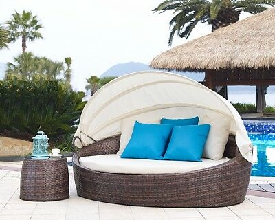 2pc Outdoor Bed Set Miami Rattan Garden Furniture Lounger