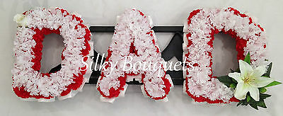 Dad Artificial Silk Funeral Flower Any 3 Letter Name Wreath Tribute Memorial Dbl