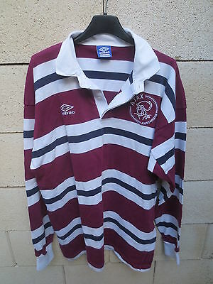 VINTAGE Polo AJAX AMSTERDAM style maillot rugby UMBRO coton shiert jersey XXL