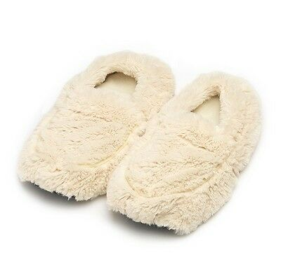 Intelex WARMIES Microwavable CREAM Lavender Scented COZY PLUSH SLIPPERS