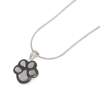 Sterling Silver and grey Paw Print Pendant for Ashes.