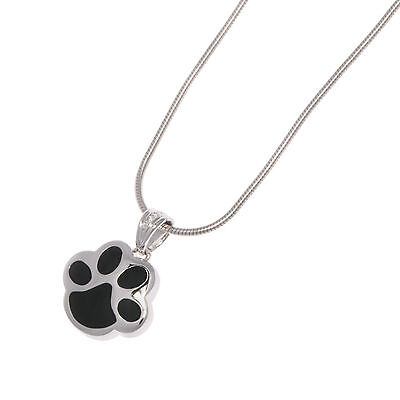 Sterling Silver and Black Paw Print Pendant for Pets Ashes.