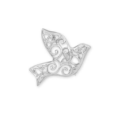 Original Celtic 925 Sterling Silver Iona Abbey Dove Brooch Gift Boxed 9359