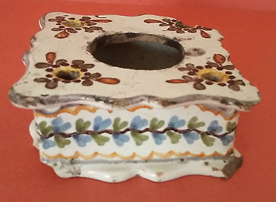 Encrier Faïence Nevers XVIIIème Antique French Majolica inkwell