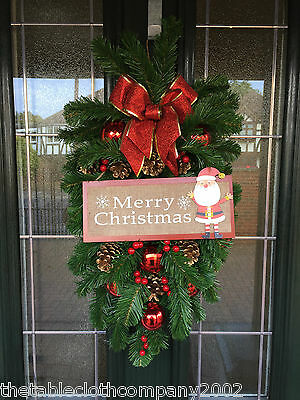 """**TO CLEAR** 12x24"""" ARTIFICIAL PINE CHRISTMAS SWAG - MERRY CHRISTMAS / SANTA"""