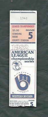 1982 ALCS ticket stub Milwaukee Brewers California Angels Gm 5 crease  SRO