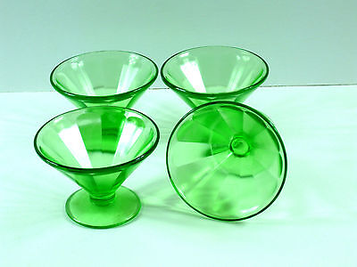 Sherbets Footed Optic Paneled Federal Green Depression Vaseline Glass Vintage
