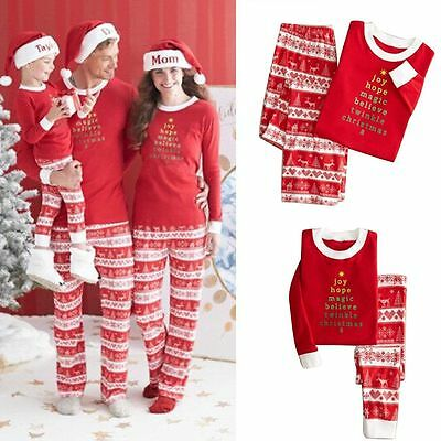 Adult Women Kid Chirdren Santa Christmas Pajamas Set Clothes NightWear Sleepwear