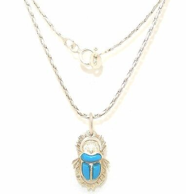 Egyptian Scarab Beetle Pendant Necklace Sterling Silver Q