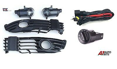 Vw Passat 3B 3Bg B5 00-05 Fog Lights Grille Kit Set + Wiring & Headlight Switch
