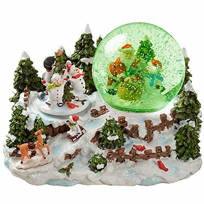 WeRChristmas 22cm Santa/Snowman Snowing Scene Animated Snow Globe Christmas with