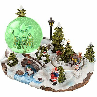 WeRChristmas 25cm Santa Scene Animated Snow Globe Christmas Decoration with and