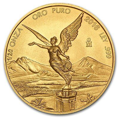 2016 Mexican Libertad 1/20 oz .999 Gold Round Bullion BU Coin - ONLY 2,900 MADE!