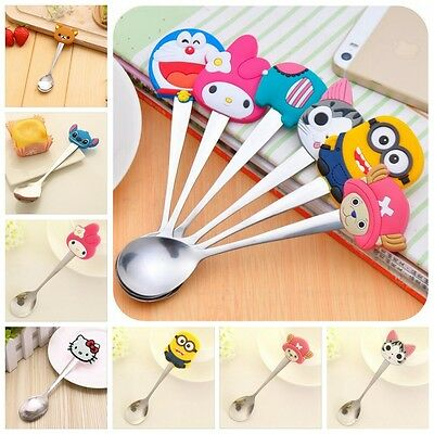 Cartoon Tableware Silicone Head Stainless Steel Baby Spoon For Infants Children