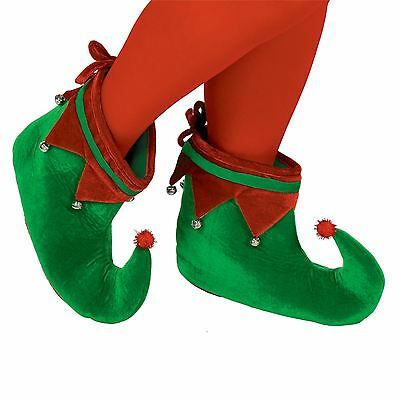 Adults Elf Shoes Santas Grotto Christmas Slippers Jester Pixie Boots Fancy Dress