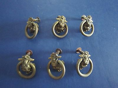 6 Antique Architectural Hardware Brass LIONS HEAD DRAWER PULLS c1930's