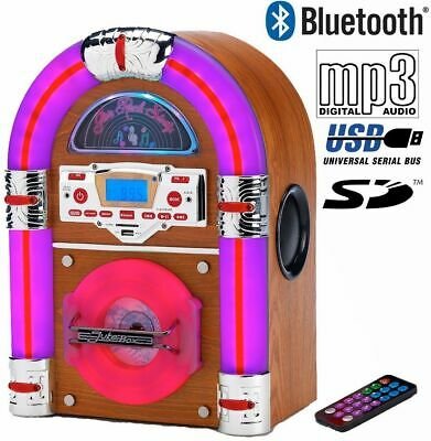 Steepletone Jive Rock Sixty Mini Retro Jukebox CD MP3 Remote Control Light Oak