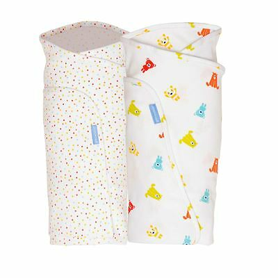 Spotty Bear Twin Pack Baby Lightweight Sleeping Swaddle 0-3m by The Gro Company