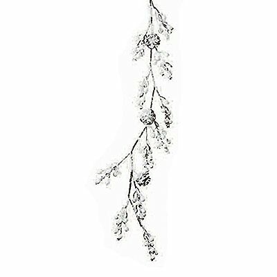 Frosted White Pine Cone & Artificial Berry Branch Christmas Garland Decoration