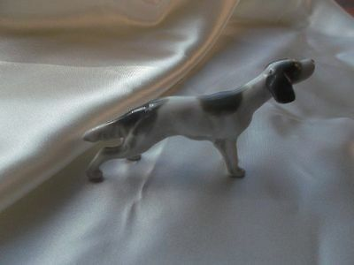 Miniature Porcelain Bone China Gray & White Pointer Perfect !