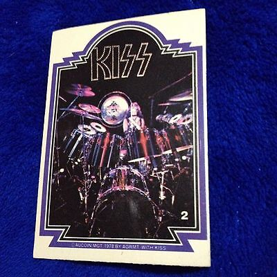 Vintage KISS Trading Card #2 Peter Criss 1978 Aucoin