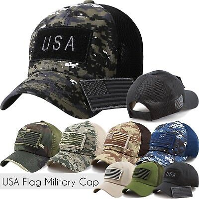 US FLAG CAP Military Hat Detachable Patch Army Navy Air Force Fashion Mesh