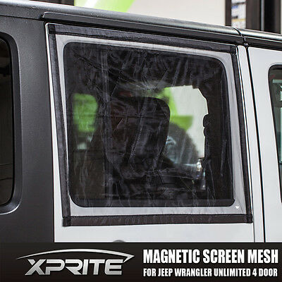 Window Magnetic Sun Shade Bug Insect Screen Mesh for 07-18 Jeep Wrangler 4D JK