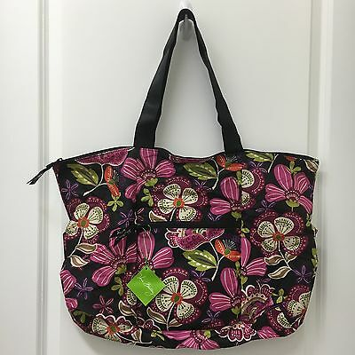 NWT Vera Bradley Pirouette Pink Collapsible Tote in Pouch Duffel Gym Bag