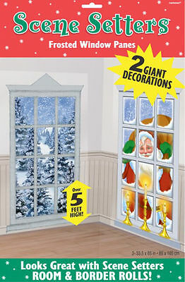 Christmas Party Santa Frosted Windows Scene Setter Wall Room Banner Decoration