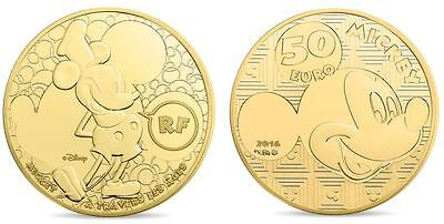 2016 MICKEY - 50 Euro 1/4 Uz Gold Or PP/PROOF 1.000 Ex