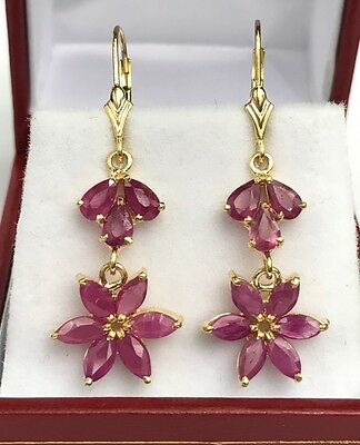 14k Solid Yellow Gold Leverback Cluster Dangle Earrings, Natural Ruby 3.8TCW