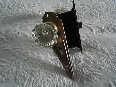 Vtg GLASS DOOR KNOB SET Decorative Art Deco BACK PLATE DOOR PLATE & LOCK
