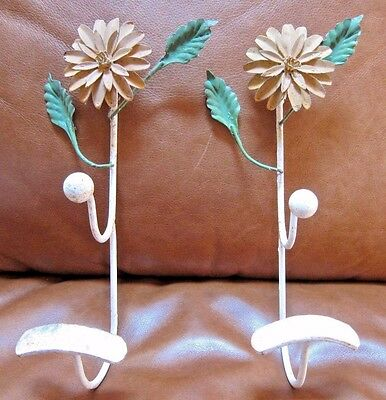 VINTAGE Set of Metal w/Enamel Flower Coat & Hat Hook Rack~Shabby Chic~Country
